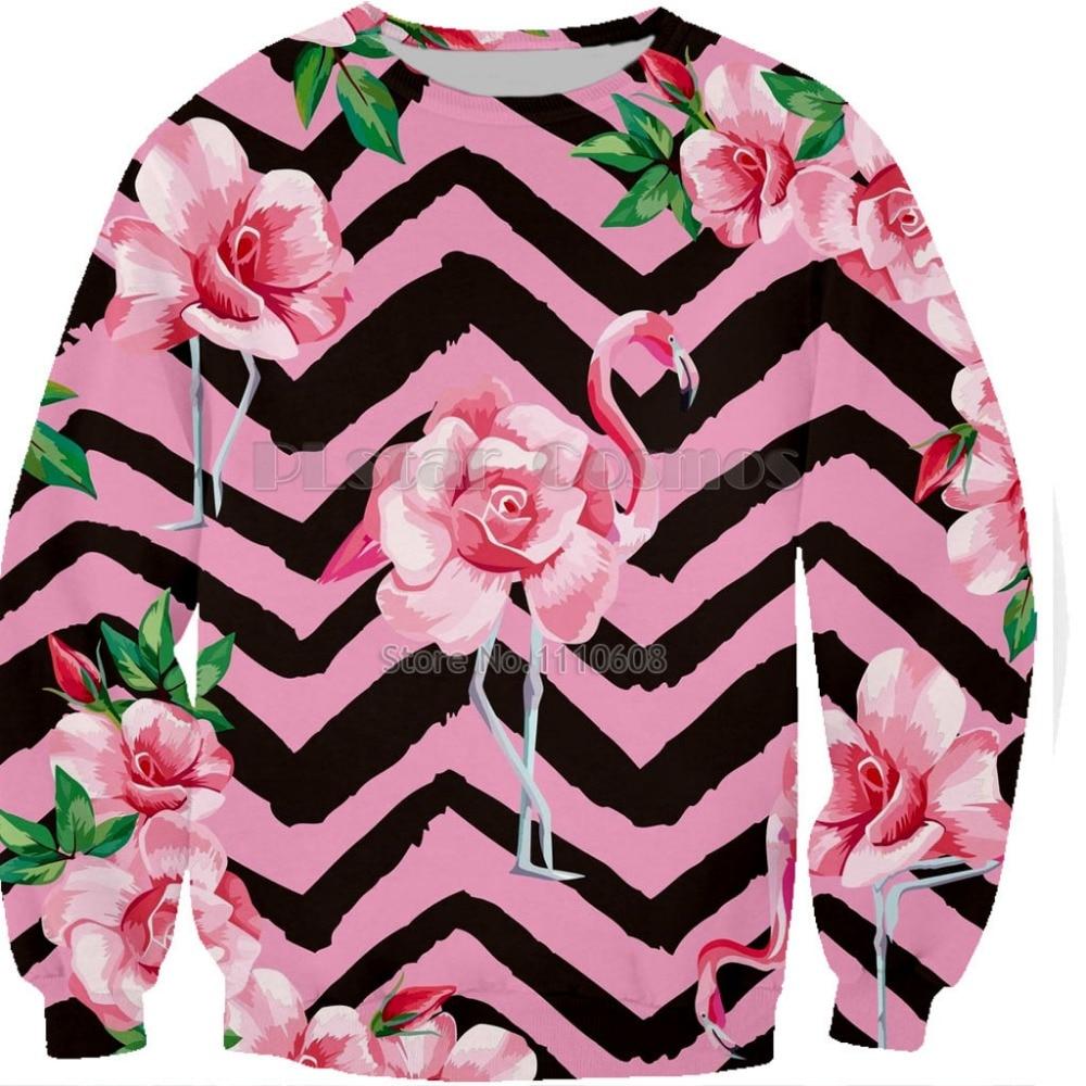 NEWest 2019 bts Harajuku Kawaii Sweatshirts Woman top Cartoon Flamingo unisex printing short Sweatshirt Hoodies COAT