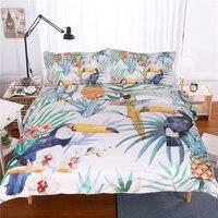 3 Pcs Toucan Duvet Cover With Pillowcase Tropical Plant Pineapple Bedding Set Soft Flower Quilt Cover