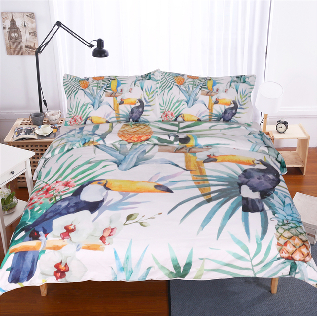 3 Pcs Toucan Duvet Cover With Pillowcase Tropical Plant Pineapple Bedding Set Soft Flower Quilt Cover Us And Au Size Wholesale