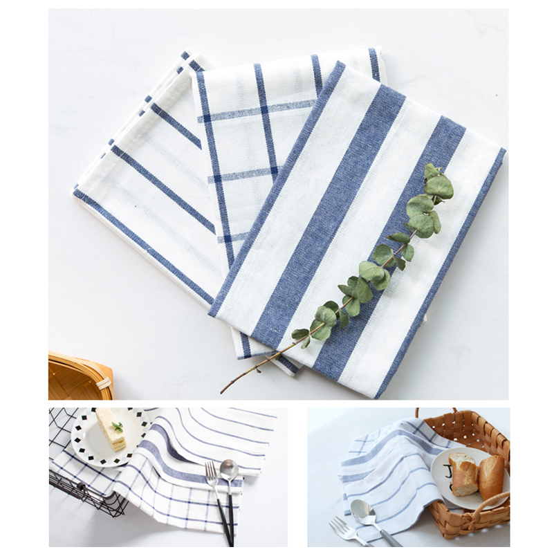 Blue/White Check/Stripe Tea Towel Kitchen Towel Table Napkin,Made of 100% Cotton Yarn-Dye Fabric