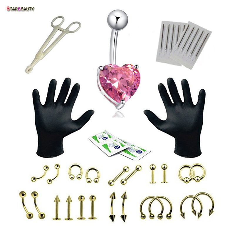 28 Pieces/set Surgical Use Body Piercing Tools Kit Kylie Lip Piercing Nombril Lip Kit Kylie Heart Belly Button Rings Tool Set