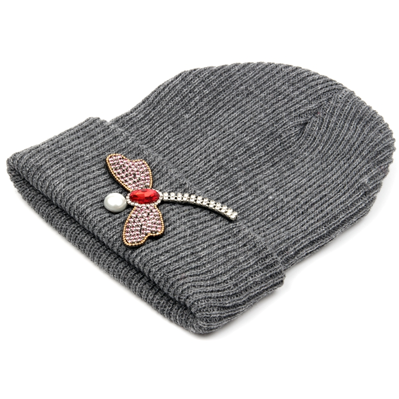 Women hats Cotton Blends Solid Warm Soft Knitted Hats Crystal dragonfly Winter Caps Women's   Skullies     Beanies   For Girl Wholesale