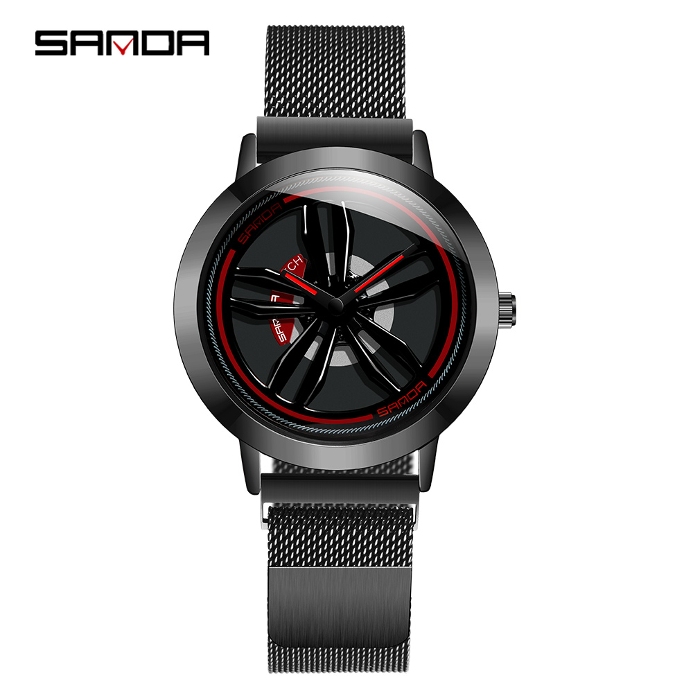 Sanda Special Car Wheel Model Men Watch Rotaing dial Quality Steel Mesh Belt Creative Sport Watches Male Military часы мужские