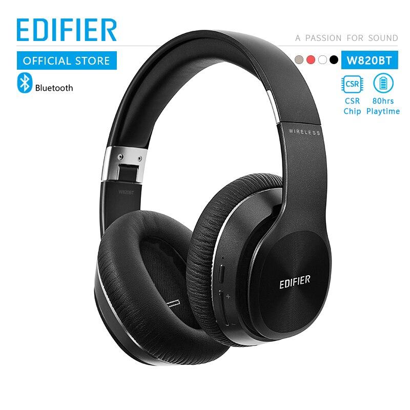 Edifier w820bt bluetooth fones de ouvido csr tecnologia design dobrável sem fio fone de ouvido baterias duplas até 80 horas tempo de reprodução