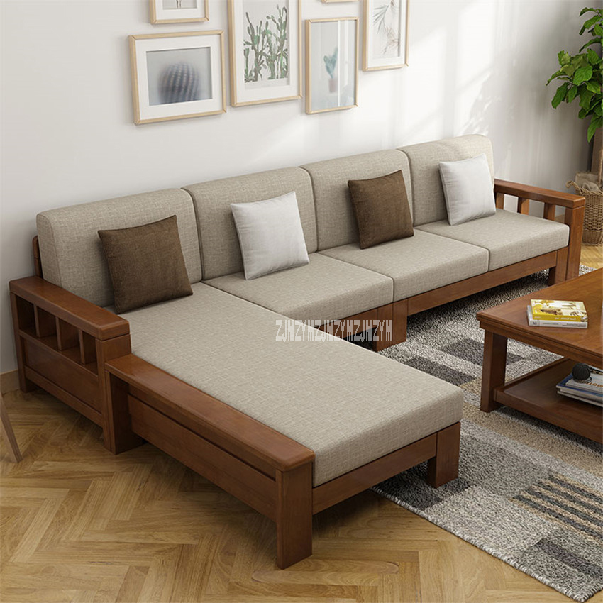 8809 Dual Purpose Home Solid Wood Sectional Recliner Couch Modern Simple Corner Sofa Set Living Room L-Shape Sofa Combination