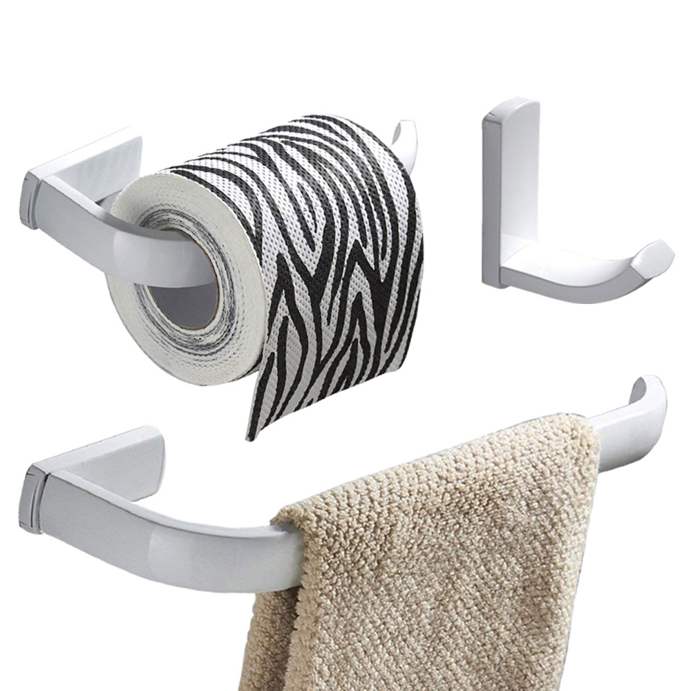 Leyden 3pcs White Brass Bathroom Accessories Set Wall Mount Towel Ring Holder Toilet Paper Holder Clothes Towel Hook Hanger  Leyden 3pcs White Brass Bathroom Accessories Set Wall Mount Towel Ring Holder Toilet Paper Holder Clothes Towel Hook Hanger