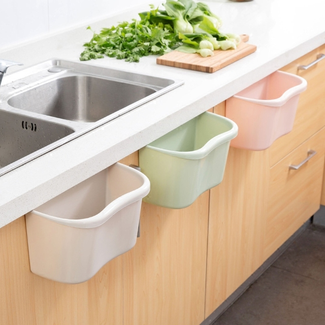 Hanging Trash Kitchen Plastic Dustbin Storage Box Cabinet Door Debris Barrels  Trash Cans Desktop Storage Box
