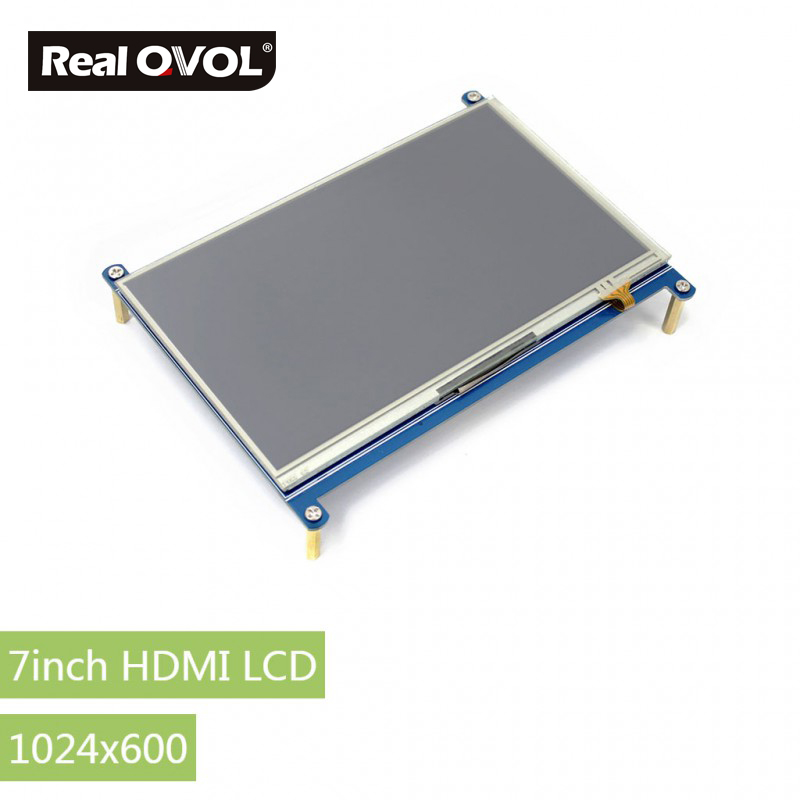 RealQvol 7inch HDMI LCD Resistive Touch Screen,1024x600 Designed for Raspberry Pi Supports 100-level backlight adjustment 3 5 inch touch screen tft lcd 320 480 designed for raspberry pi rpi 2