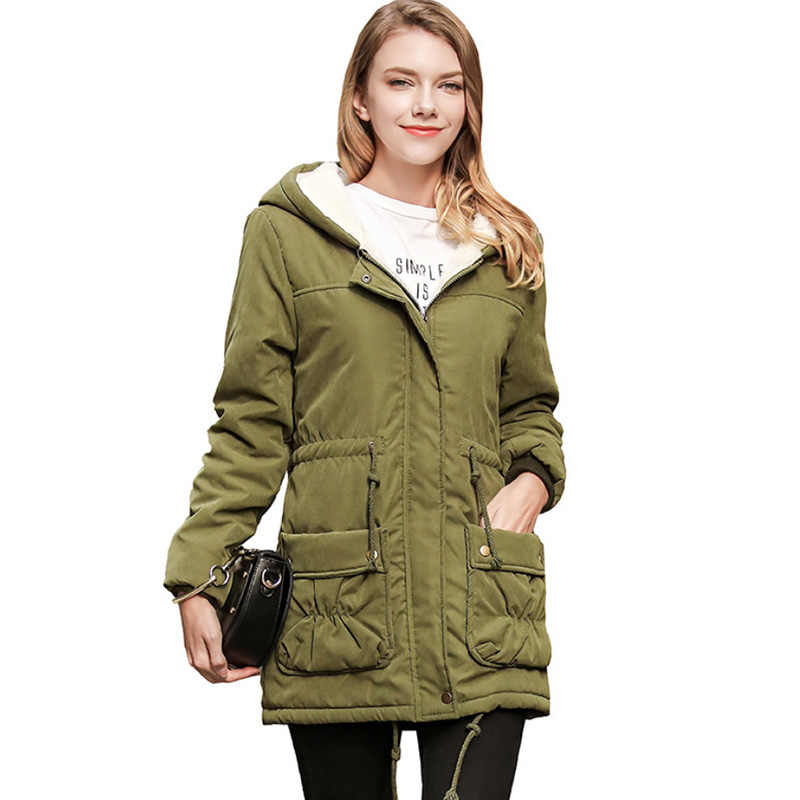 Winter Cotton Coat Women Slim Snow Outwear Medium-long Wadded Jacket Thick Cotton Padded Warm Cotton Parkas
