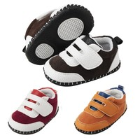 2018 PU Baby Shoes Newborn Baby Shoes Sports Color Matching First Walker PU Casual Sports Baby Shoes for Boys Baby's First Walkers