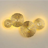 New Chinese wall lamp living room lamp personality lotus leaf restaurant study room bedside all copper luminaire LU8201356