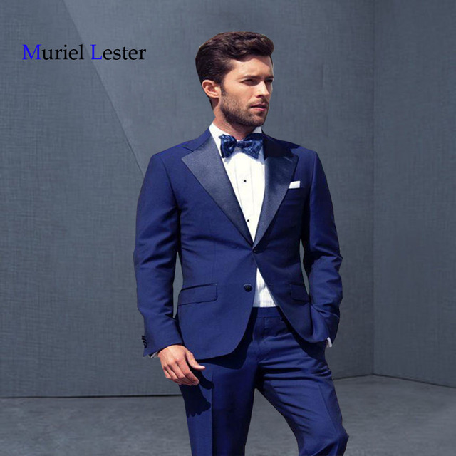 fa32666dbdcc0 2018 Hot Sale Deep Blue Men Suit Groom Tuxedos Tailor Made Suit Bespoke  Light Navy Blue Wedding Suits For Men Custom made