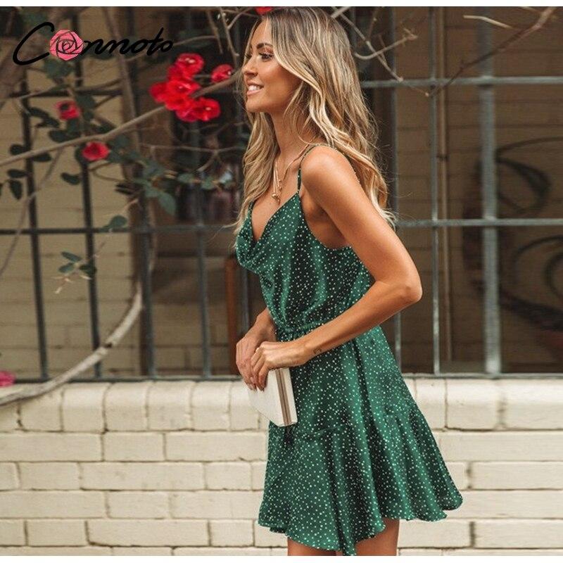 Conmoto 19 Summer Fashion Strap Backless Stain Short Dress Women Casual High Street Polka Dot Dress Beach Holiday Vestidos 6