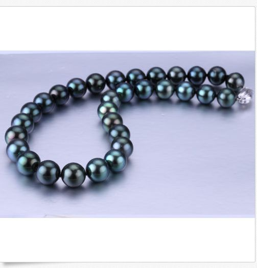 stunning round 10-11mm freshwater black green pearl necklace 18inch 925sstunning round 10-11mm freshwater black green pearl necklace 18inch 925s