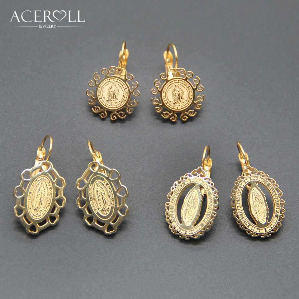 ACEROLL Earring with Virgin of Guadalupe - Stainless Steel Round Oval Heart Catholic French Hook Findings Earring in Gold Color