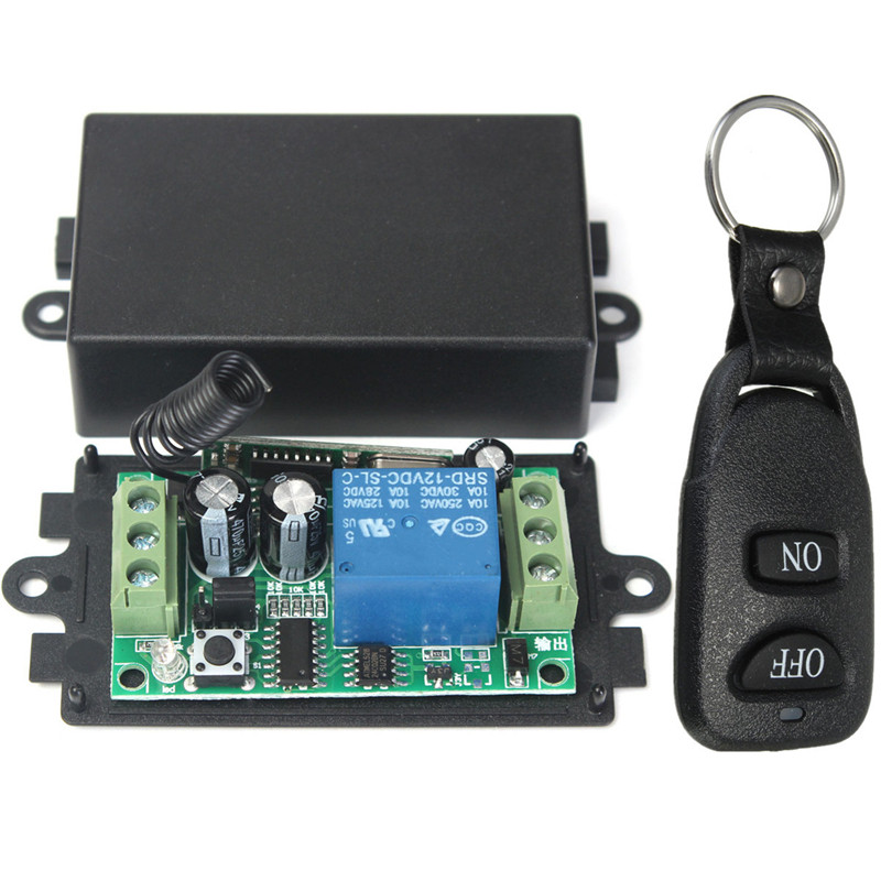DC 12V 10A 1CH Wireless Remote Control Switch System Receiv er Transmitter 2 Buttons Remote 433MHZ