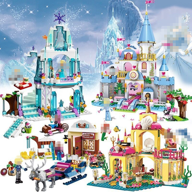 JG301 316pcs Princess Series Elsa Anna Ice Castle Building Block Bricks Educational Toys For Children Legoings Girls Friends