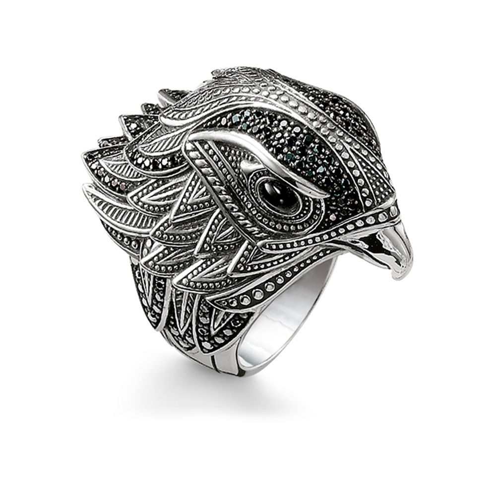 Silver Black Zirconia-pave Eagle Hawk Falcon Head Rings European Most Fashion Cocktail Ring Jewelry Punk Ring Gift for Women Men купить недорого в Москве