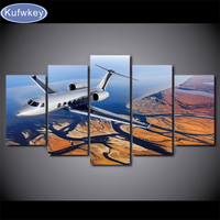Diamond mosaic painting Home Decor 5 Pieces Flying Aircraft Pictures Living Room Wall Art diamond embroidery River Scenery