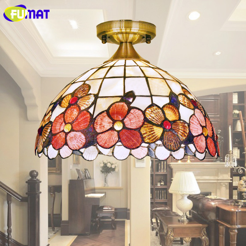 FUMAT Balcony Ceiling Light Peony American Shell Ceiling Lamp European Classical Aisle Plafond Entrance Ceiling Light fumat stained glass ceiling lamp european church corridor magnolia etched glass indoor light fixtures for balcony front porch