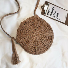 Women Cross Body Bag Round Circular Rattan Wicker Straw Woven Beach Basket Purse