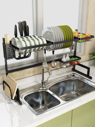 Stainless steel sink rack drain rack sink to dry the chopsticks rack dish rack kitchen shelf 2 storey storage shelf stainless steel sink drain rack