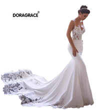 Doragrace Real Photos V Neck Spaghetti Straps Mermaid Lace Wedding Gowns Beach Dresses