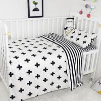 Baby Bedding Set Cotton Soft Classic Black White Cross Pattern Infant Crib Baby Duvet Cover Bed Sheet Pillowcase Baby Bed Set