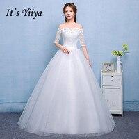 Free Shipping 2017 Vestidos De Novia Boat Neck Lace Sleeves Wedding Dresses White Cheap Bride Frocks
