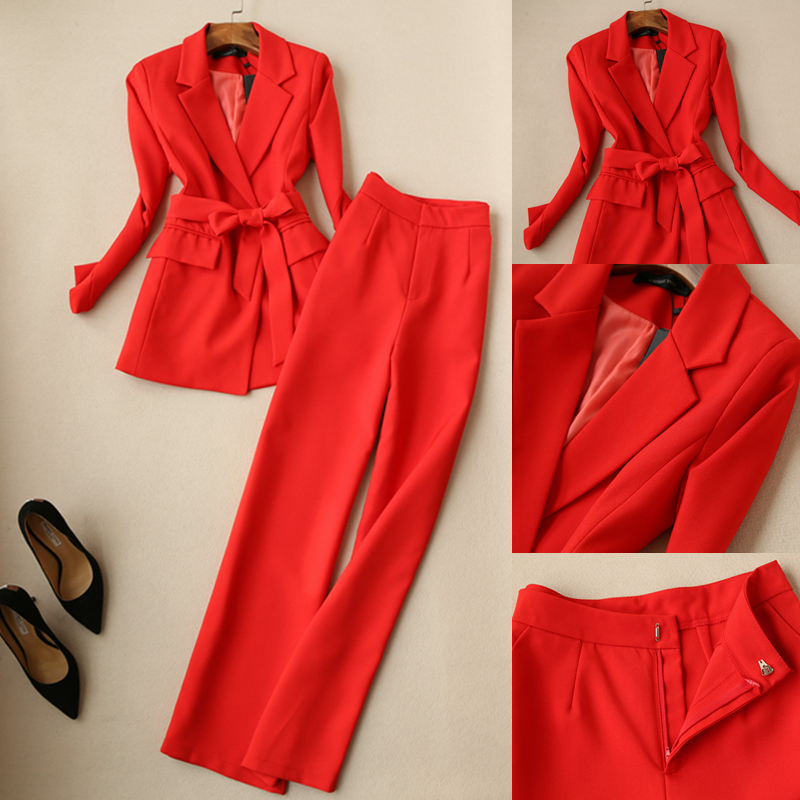 2 Piece Outfits For Women Red Suit Suit Female 2019 New Women's Spring Fashion Temperament Wide Leg Pants Two Sets Of Tide