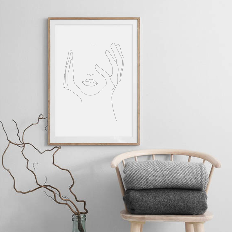 Hands On Face Canvas Print Living Room Decor