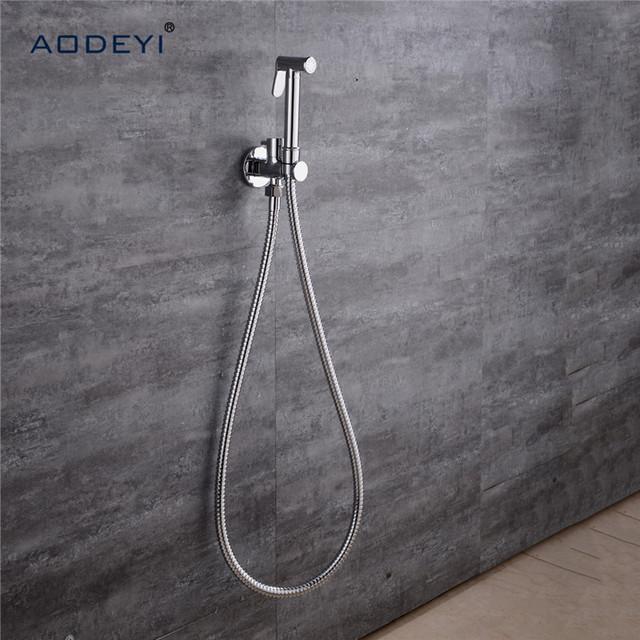 AODEYI Toilet Brass Hand Held Bidet Spray Shower Head Douche Kit Shatta Copper Valve Bathroom Bidet Sprayer Jet Tap Holder Hose