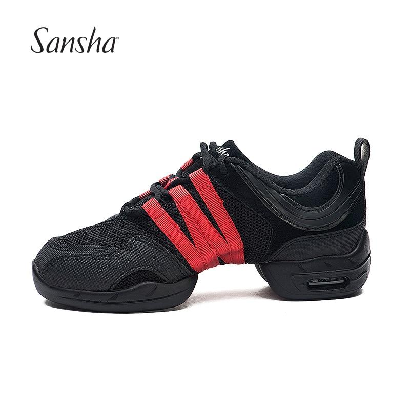Sansha Breathable Dance Sneakers Woman Man Black Red Air Mesh Split sole Square Dance Salsa Dancing