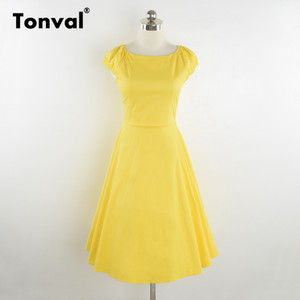 Image 4 - فستان أصفر عتيق من Tonval بأكمام قصيرة للنساء لصيف 2020 فساتين كلاسيكية من القطن بولكا دوت روكابيلي