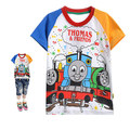 3-7y Baby Clothes Boys T-shirts 2016 Summer Fashion Cartoon Thomas Short Sleeve T Shirt Children Clothing For Boy T Shirt
