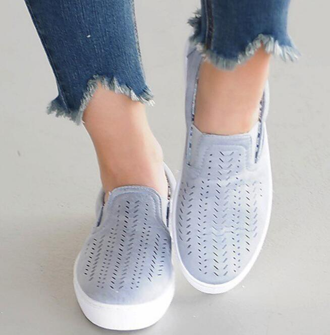 Plus size 35-43 canvas shoes woman comfortable TH021 loafers breathable cutouts blue pink lady female women's casual flats shoes fashion woman casual shoes wild lace up loafers women flats comfortable footwear woman shoes breathable female shoes