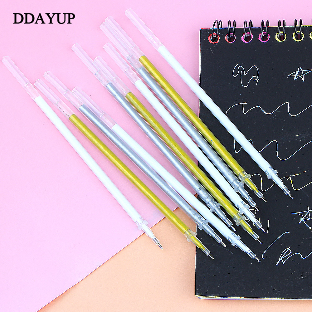 10Pcs 0.8mm White Gold Silver Gel Pen Refill Photo Album Pen Refills Stationery Office Learning Scrapbooking Pen Sketch Drawing