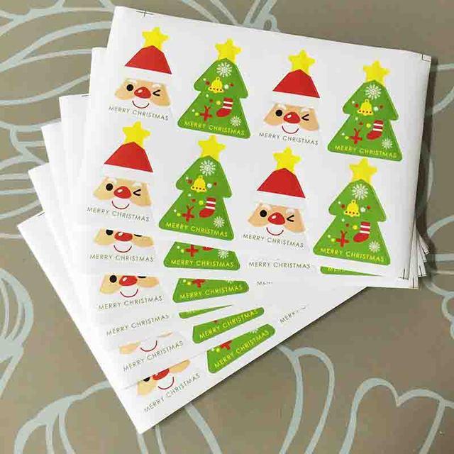 160 Pcs Sheet Red Santa Claus Green Christmas Tree Craft Packaging Seals Kraft Labels Sticker