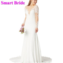 Smart Bride Long Wedding Dresses Sexy Mermaid Full Sleeves