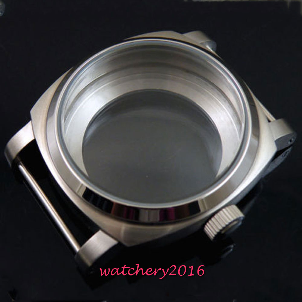 44mm parnis stainless steel hardened brushed case fit 6497 6498 ST 36 movement High quality watchcase-in Watch Cases from Watches    1