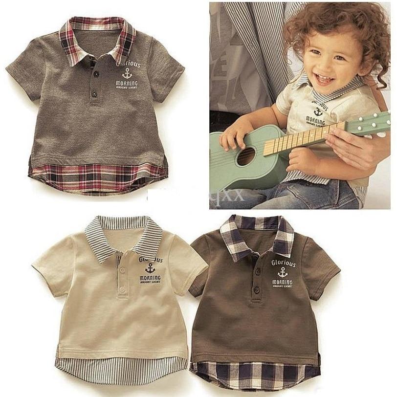 2017 niños Camisetas para Boy Plaid rejilla ropa bebé ropa letra algodón  verano 1 2 3 4 5 6 año Camisas para la ropa del muchacho en Camisetas de  Mamá y ... c01b8b31c637