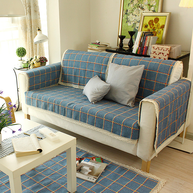 WLIARLEO Thicker Sofa Towel Weave Plaid Sofa Cover Slip Resistant Covers  For A Couch Blue