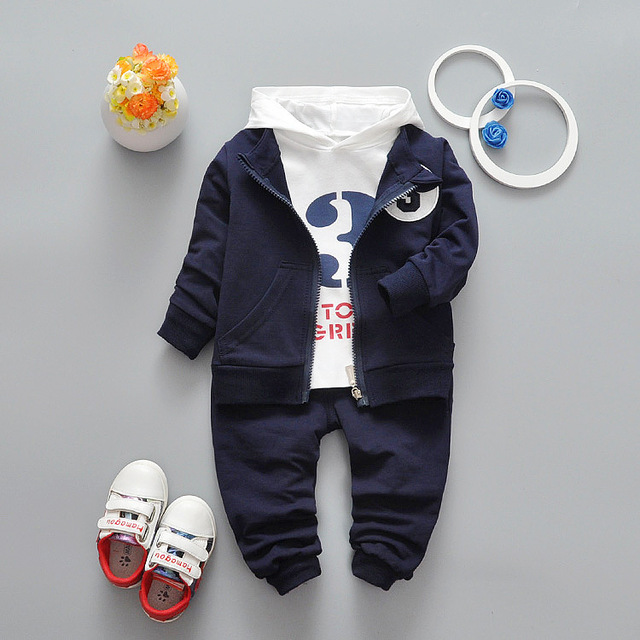 2017 Baby Girls Boys Clothes Sets Spring Autumn Infant Cotton Suits Children Coat+Hooded T Shirt+Pants Kids Casual Sports Suits