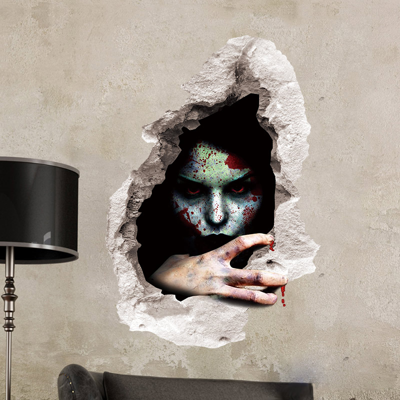Halloween Decoration 3d View Scary Bloody Broken Wall Ghost Wall Sticker Home Decor Mural Party
