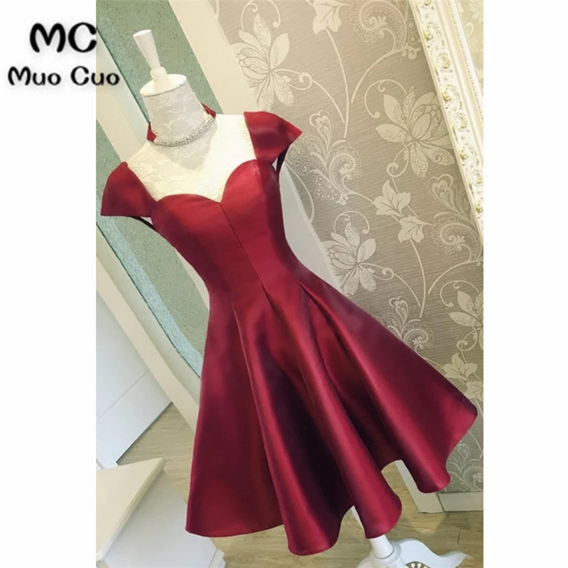 Burgundy Satin Short Prom Dresses With Cap Sleeves