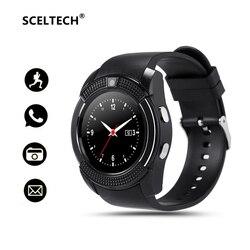 SCELTECH V8 Bluetooth Smart часы 1,22 круглый Экран с SIM/карты памяти часы Камера SmartWatch наручные часы для Android iOS телефон