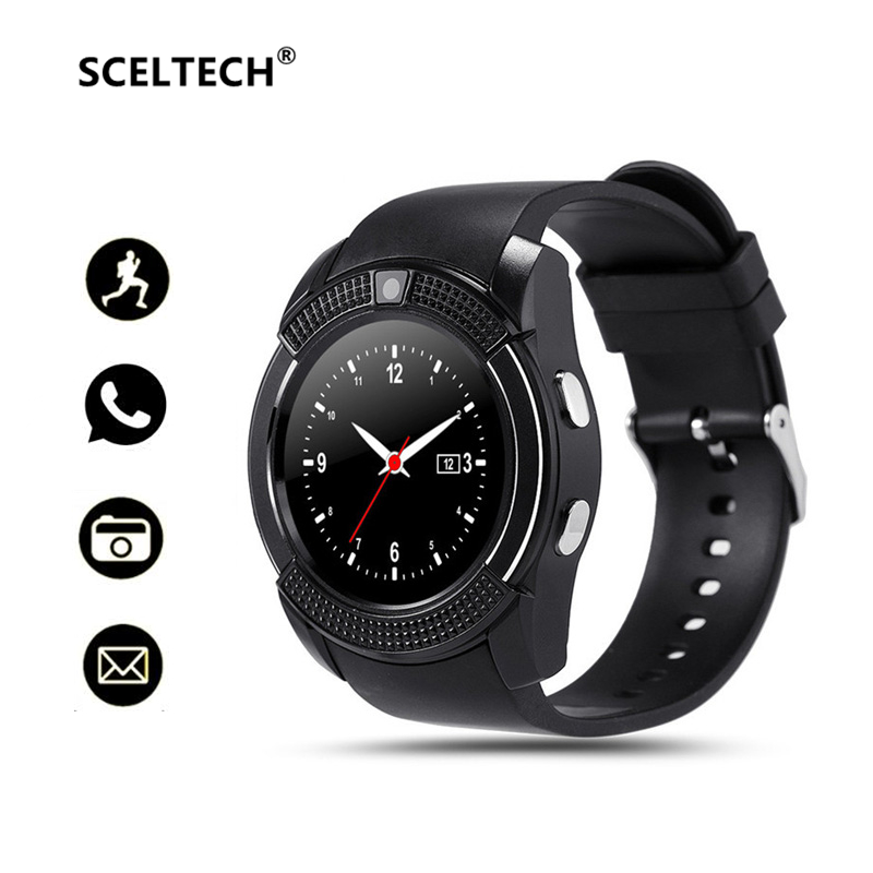 SCELTECH V8 Bluetooth Smart Watch 1.22 Round Screen with SIM / TF Card Clock Camera SmartWatch Wristwatch for Android iOS Phone