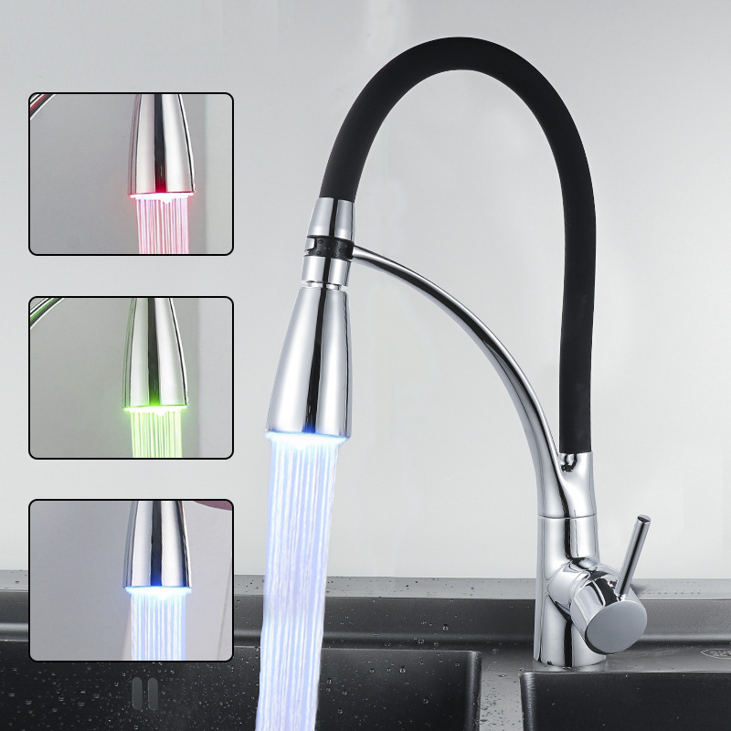 LED Lights with Red Green and Blue Color Kitchen Faucets Using All-copper Drawn Kitchen Sink Cold and Hot Can Rotate 360 Degrees