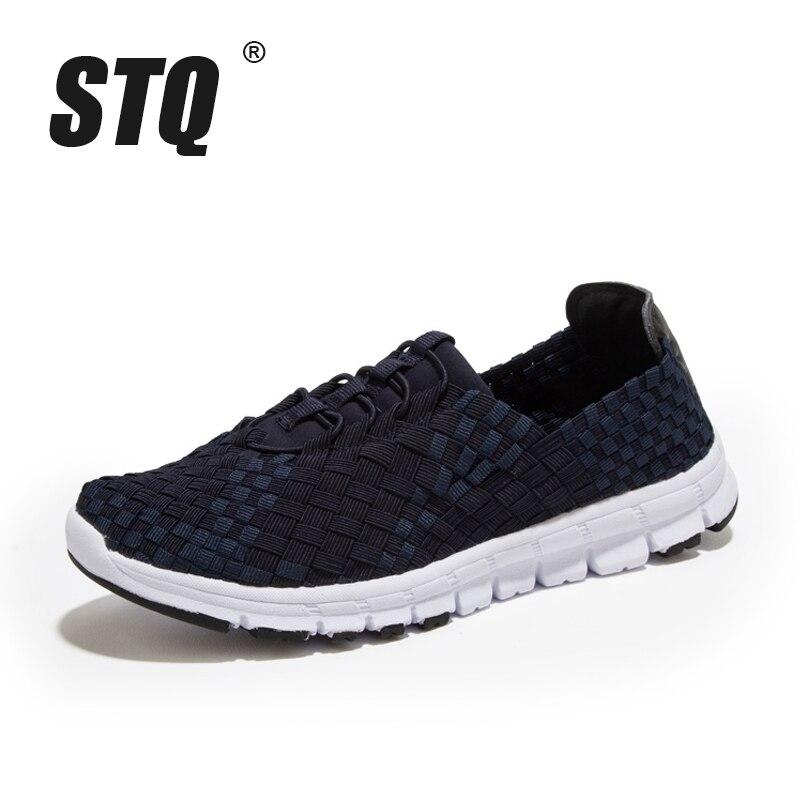 Image 2 - STQ 2020 Autumn Women Casual Sneakers Shoes Women Flats Woven Shoes Ladies Loafers Shoes Flat Weave Lace Up Walking Shoes 1655women flats shoesflats shoesloafers shoes -