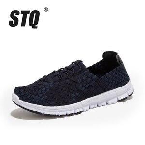 Image 2 - STQ 2020 סתיו נשים מקרית סניקרס נעלי נשים דירות ארוג נעלי לופרס נעליים שטוח Weave תחרה עד נעלי הליכה 1655